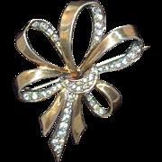 Boucher Phrygian  Mark Sterling Silver Rhinestone Ribbon Bow Pin  Circa 1940's