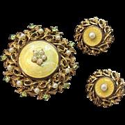 Cathe Brooch & Clip on Earring Set w Peridot Green Rhinestones & Imitation Pearls