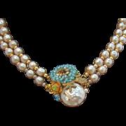 Miriam Haskell Imitation Pearl Double Strand Necklace w Ornate Beaded & Rhinestone Clasp