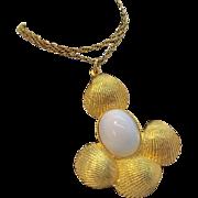 Goldette Huge Runway Size Goldtone Metal & White Sea Shell Pendant Necklace Circa 1960's