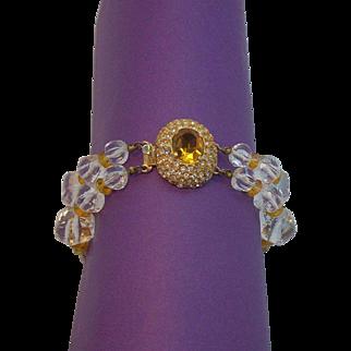 Alice Caviness Citrine Orange, Clear Rhinestones, & Faceted Lucite Bracelet