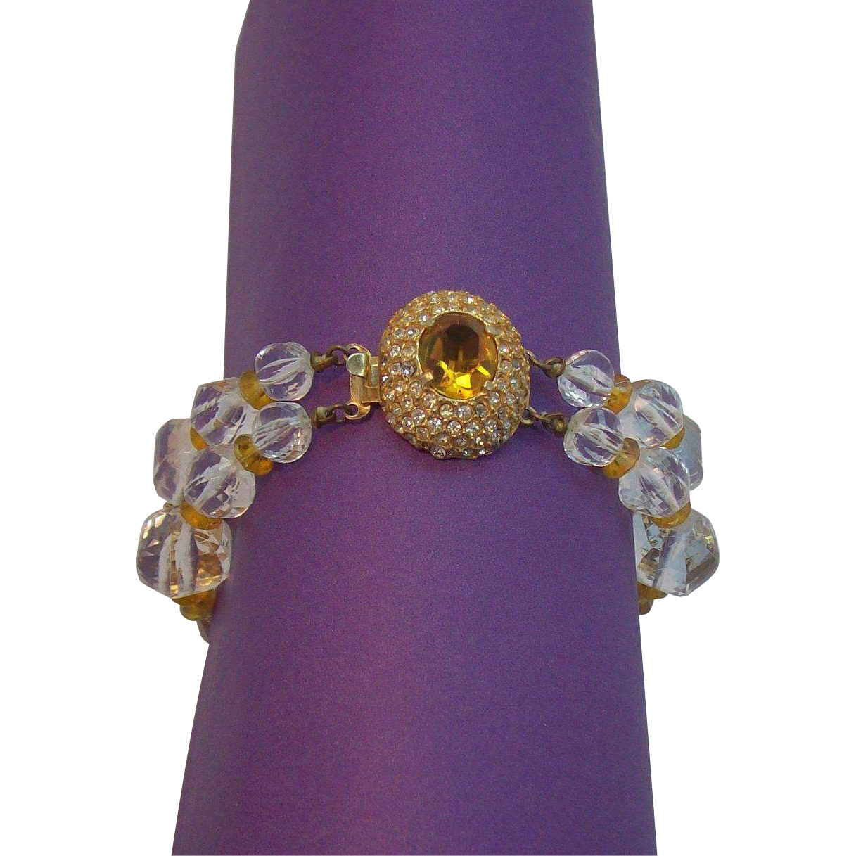 Alice Caviness Citrine Orange, Clear Rhinestones, & Faceted Lucite Bracelet