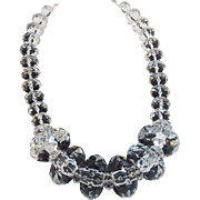 Joan Rivers Huge Bold Runway Size Faceted Clear Lucite Beaded Necklace
