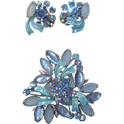 Powder Blue & Blue Ice Rhinestones & Enameled Brooch & Earring Set  Circa 1950's