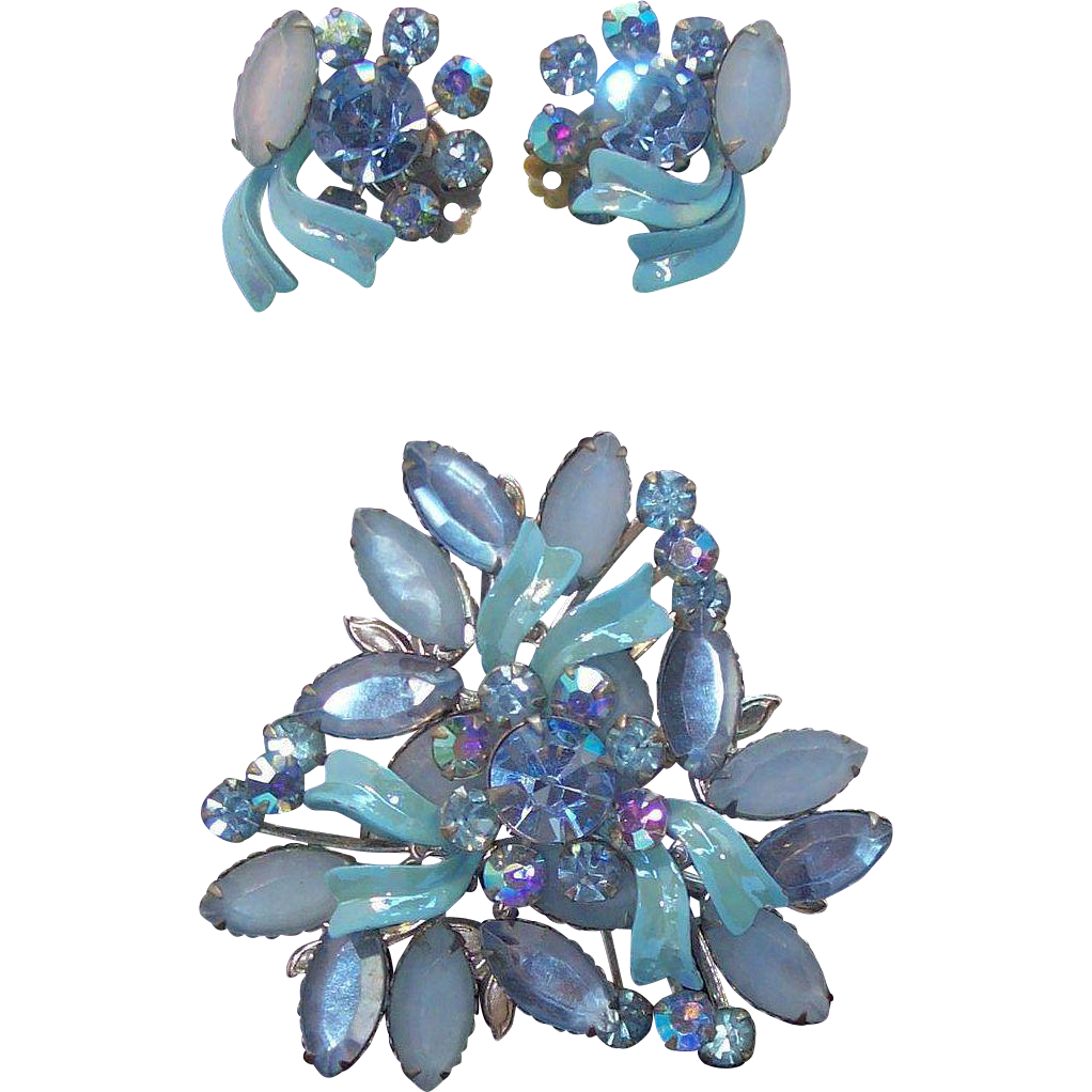 Powder Blue & Blue Ice Rhinestones & Enameled Brooch & Earring Set  Circa 1950's