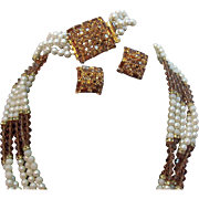 Hobe Rhinestones, Imitation Pearls, & Crystal Beaded Necklace Bracelet Earring Set
