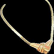 Trifari Pink & Creme Striped Enameled Goldtone Metal Necklace
