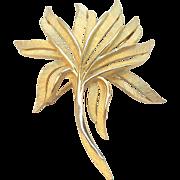 Trifari Crown Symbol Brushed Goldtone Metal Stylized Leaf Brooch
