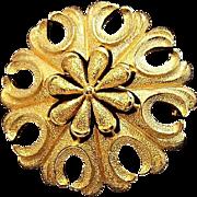 Trifari Crown Symbol Charming Flower Brooch with Textured Goldtone Metal