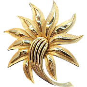 Trifari Crown Symbol Abstract Stylized Flower Brooch with Shiny & Textured Goldtone Metal