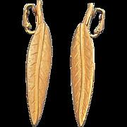 KJL  Goldtone Metal Dangle Leaves Clip on Earrings