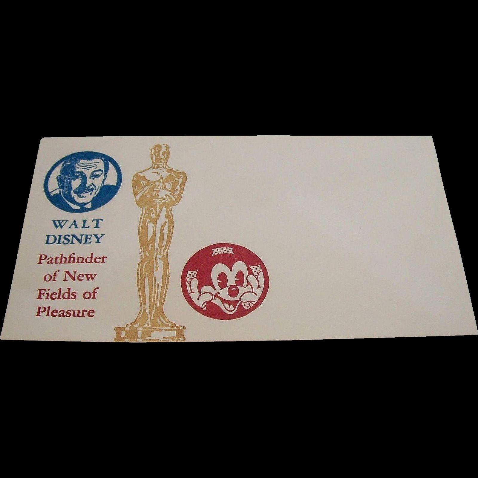 Walt Disney Pathfinder of New Fields of Pleasure Commemorative Envelope 1966