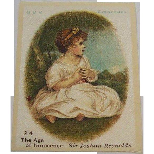 B.D.V. Cigarettes #24 The Age of Innocence, Sir Joshua Reynolds, Cigarette Silk  ~Sale Buy 3 for $10~