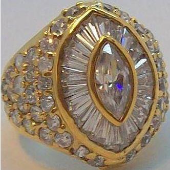 Brilliant Jolie Gabor Fancy Cut Clear Russian CZ's Sterling Silver Vermeil Ring Size 6