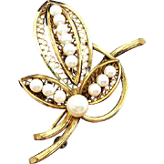 Winard 12K Gold Filled Floral Bouquet Brooch with Genuine Pearls