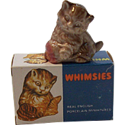 Wade Whimsies Porcelain Miniatures Kitten Figurine MIB #4 Circa 1970's