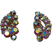 Dazzling Red Aurora Borealis Rhinestones Clip On Earrings
