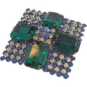 Large Hobe Brilliant Diamond Shaped Emerald Green, Blue, & Clear Rhinestones Brooch