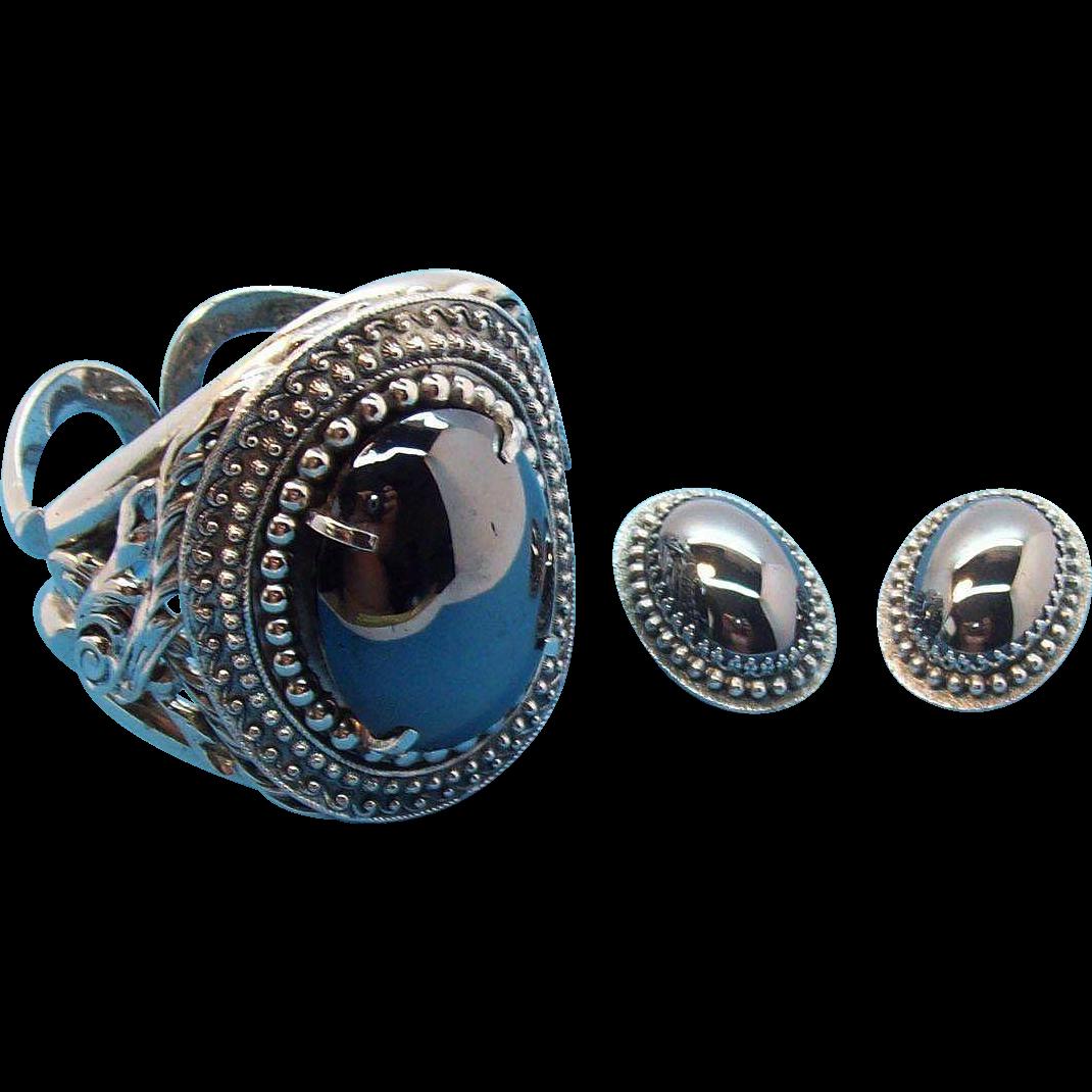 Huge Whiting & Davis Imitation Hematite Silvertone Metal Cuff Bangle & Earring Set