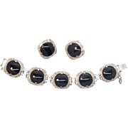 Judy Lee Geometric Black Glass & Silvertone Metal Bracelet & Earring Set circa 1960s'