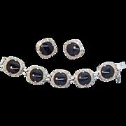 Judy Lee Geometric Black Glass & Silvertone Metal Bracelet & Earring Set circa 1960s'