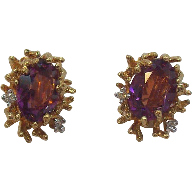 Rich Panetta Amethyst Colored Crystal Stones & Rhinestones Goldtone Metal Clip on Earrings