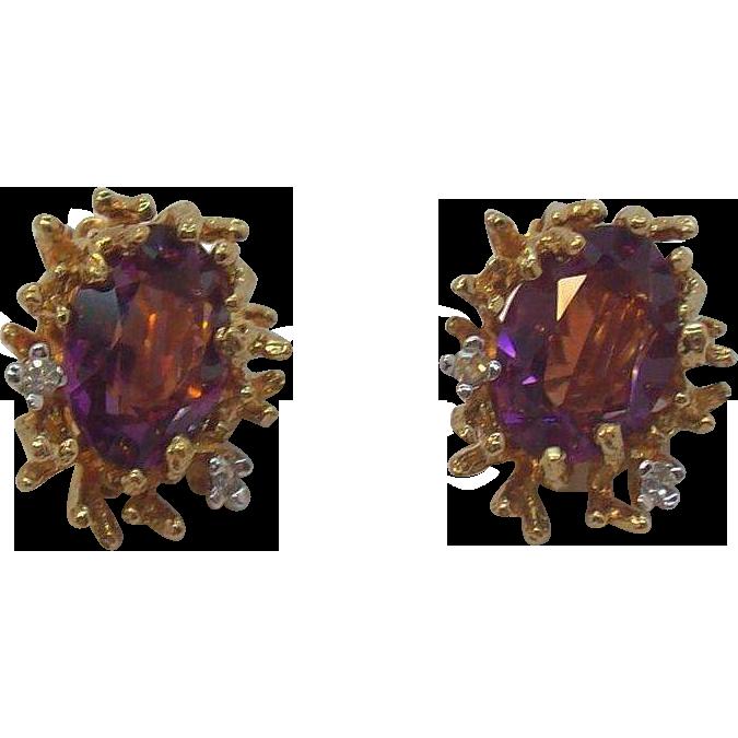 Rich Panetta Amethyst Colored Crystal Stones & Rhinestones Goldtone Metal Clip on Earrings