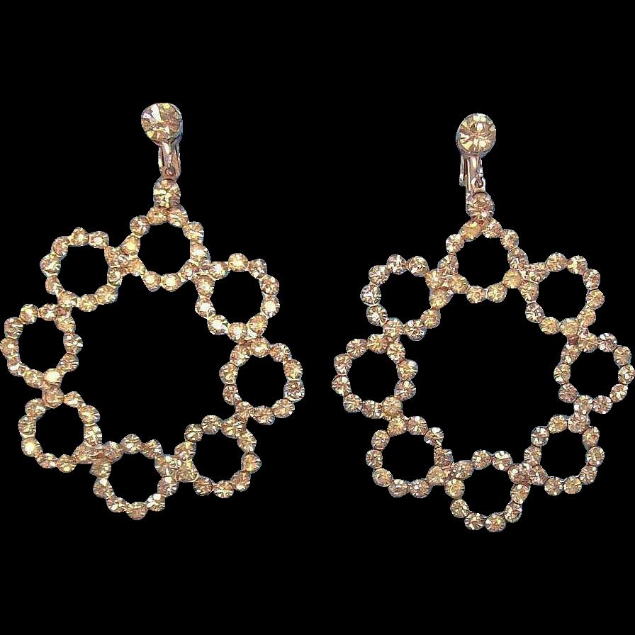 Huge Dazzling Hattie Carnegie Silvertone Metal Clear Rhinestone Dangle Earrings