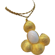 Goldette Huge Runway Size Goldtone Metal & White Sea Shell Pendant Necklace Circa 1960's