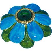 Original by Robert Blue & Green 3-D Enameled Flower Brooch / Pendant circa 1960's