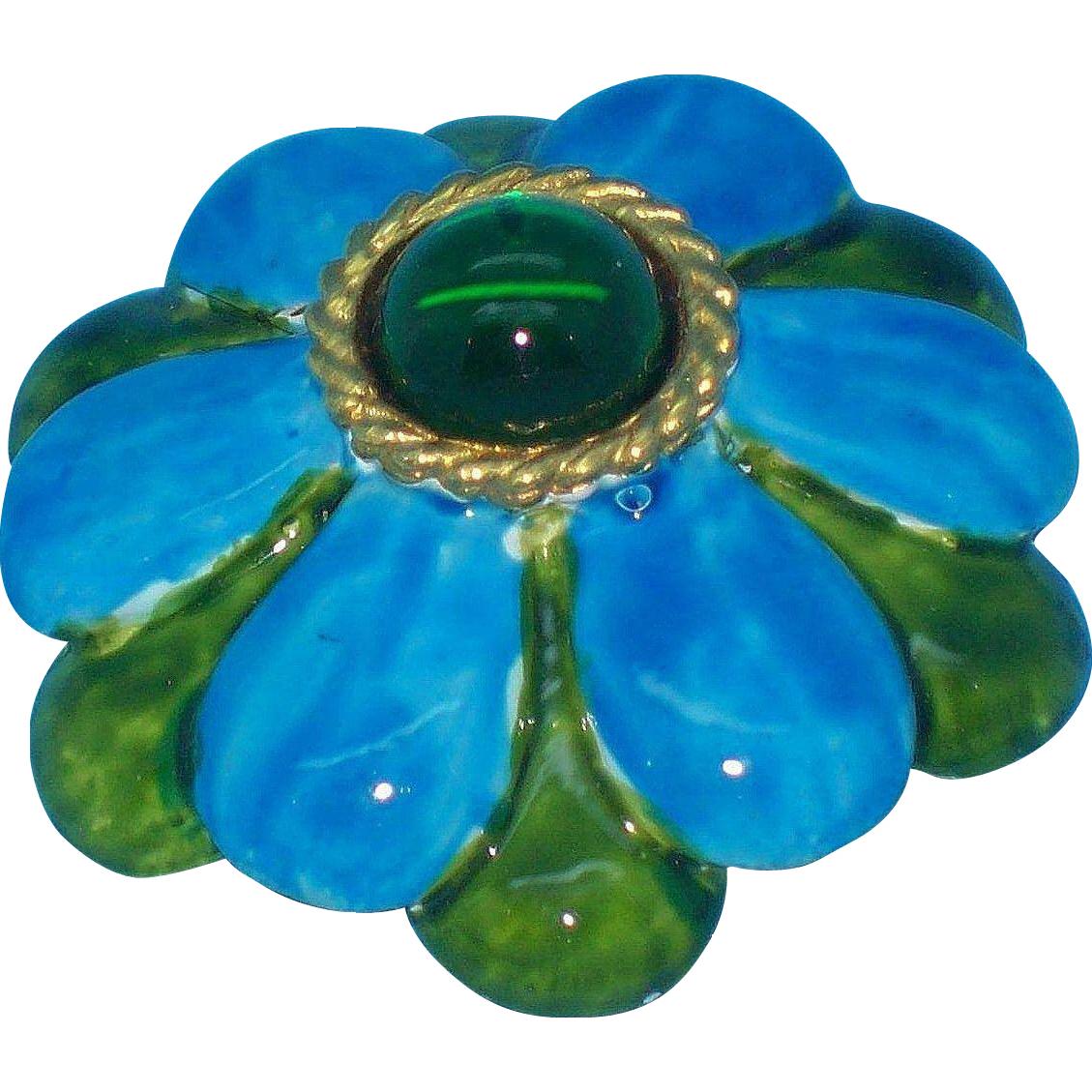 Original by Robert Blue & Green 3-D Enameled Flower Brooch / Pendant circa 1960's