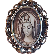 Unusual Madonna Portrait Encased Under Glass European 800 Silver Oval Shaped Brooch