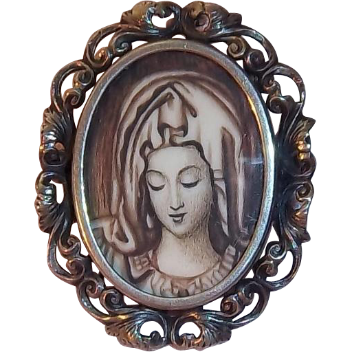 Unusual Madonna Portrait Encased Under Glass European 800 Silver Oval Shaped Brooch
