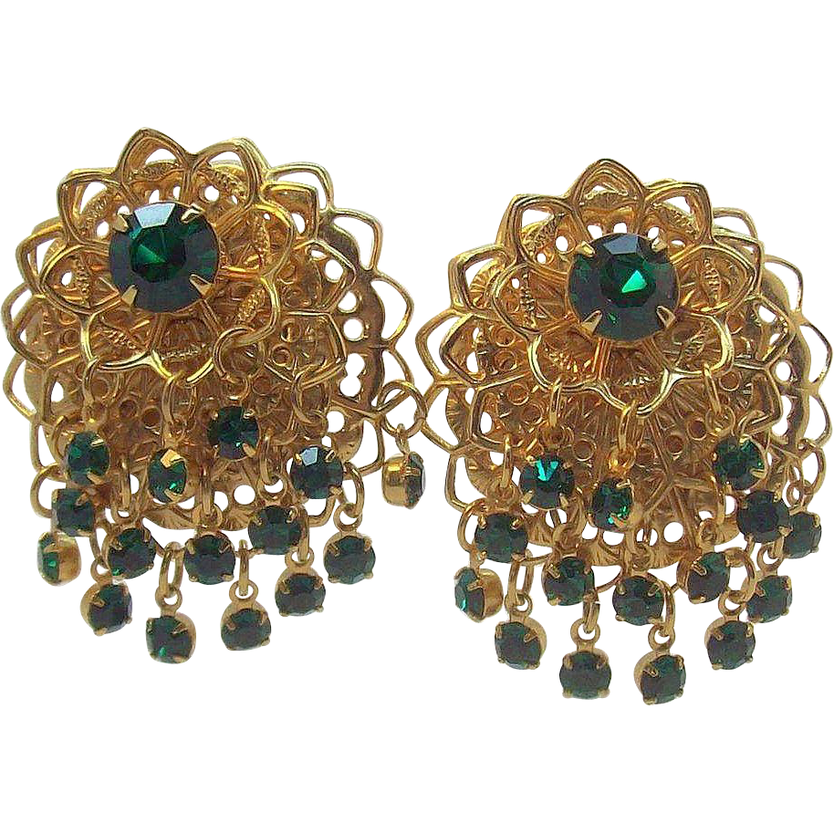 Dazzling Layered Drippy Emerald Green Rhinestone Dangle Earrings