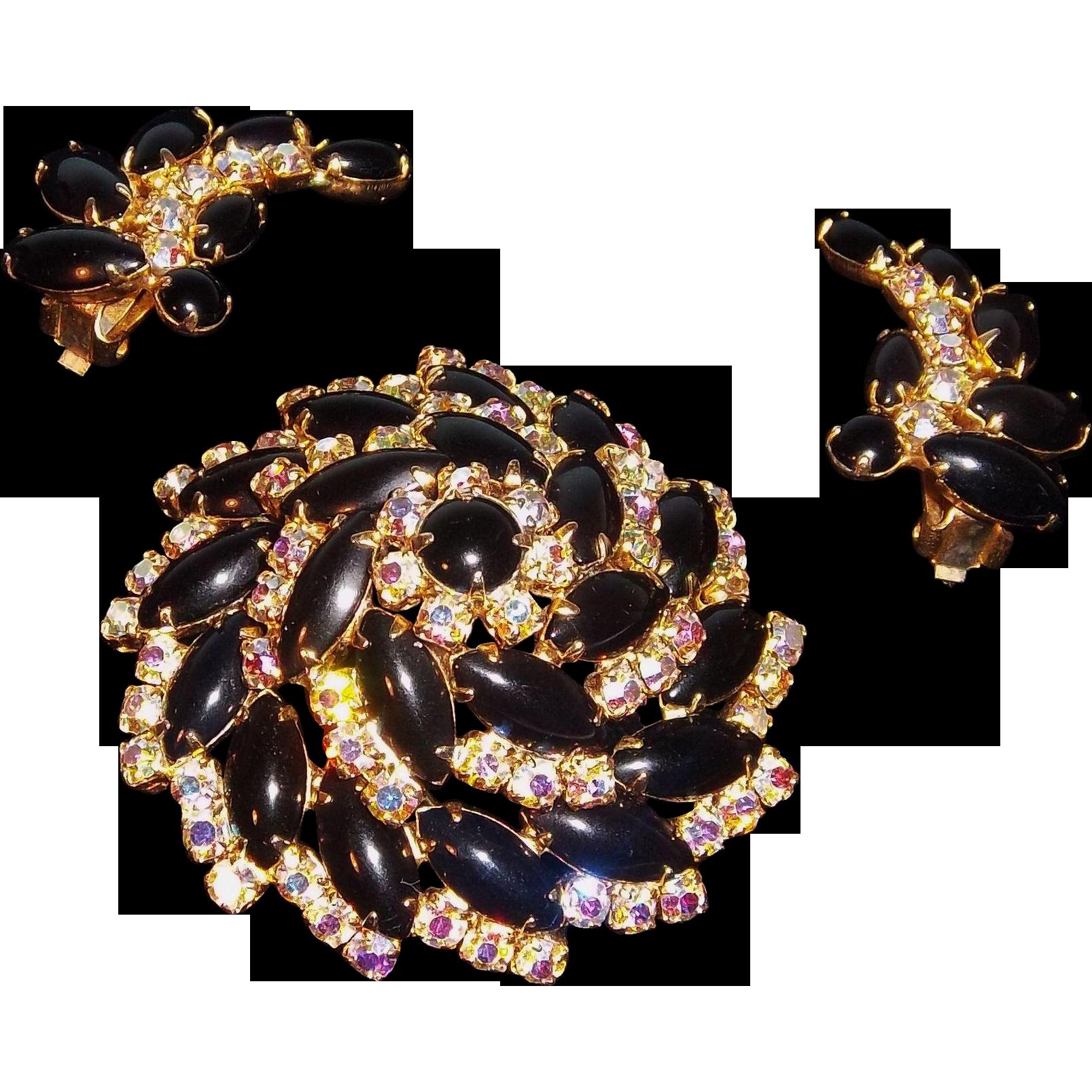 Glitzy  3-D Domed Brooch & Earring Set Black Cabs &  Aurora Borealis Rhinestones