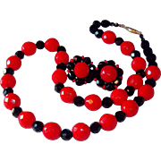 Classic Red & Black Faceted Glass Beaded Necklace & Earring Set