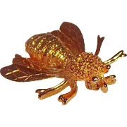Sarah Coventry The Sting 1975 3-D Goldtone Metal Bee Brooch