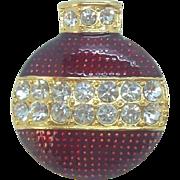 Eisenberg Ice Glossy Red Enameled Rhinestone Christmas Ornament Brooch circa  1990's