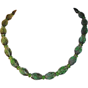 Elegant Carolee Olive Green Multi Faceted Glass Oval Shaped Beaded Necklace