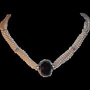 Classic Elegance Carolee Imitation Pearl Choker w Rhinestones & Black Glass Focal Bead