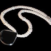 Simple Elegance  Carolee Imitation Pearl Choker w Rhinestone Spacers & Geometric Black Glass Pendant
