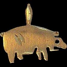 14K Gold Pig Charm Pendant