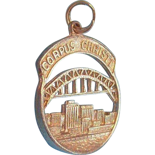 Corpus Christi Texas Harbor Bridge City Scape Sterling Silver Pendant