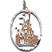 Walt Disney Productions  Oval Shaped Princess Castle Charm / Pendant  Sterling Silver