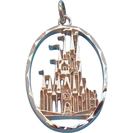 Walt Disney Productions  Oval Shaped Princess Castle Charm / Pendant  Sterling Silver