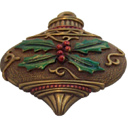 JJ Textured Enameled Christmas Ornament Brooch Circa 1980's