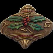 JJ Textured Enameled Christmas Ornament Brooch Circa 1980's
