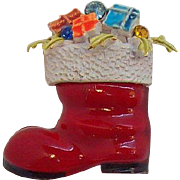 Fun Red Enameled Santa's Boot Filled with Presents Pin Signed ART