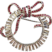Stunning Large 3-Dimensional Rhinestone Christmas Bow Wreath Carolee