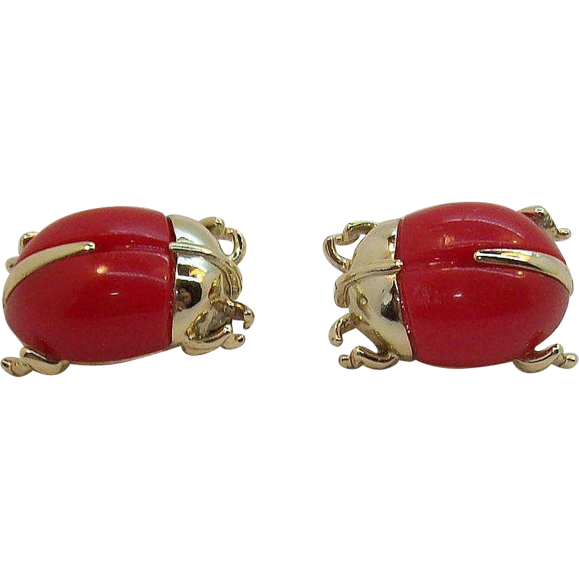 Sarah Coventry Bug a Boo Pair of Red Lady Bug Scatter Pins 1966